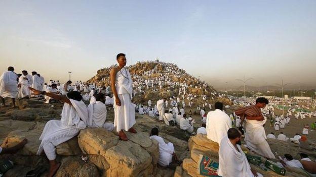 Jemaah haji di Arafat sebelum terjadi pandemi virus corona.