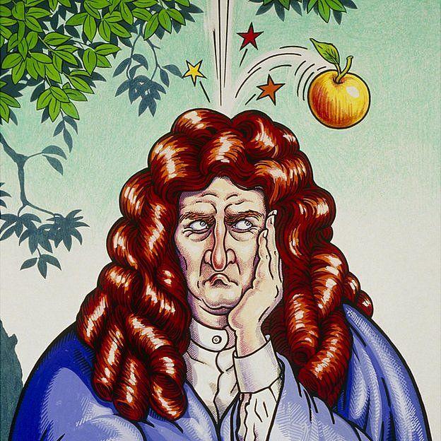 Caricatura de Newton cuando le cae la manzana en la cabeza