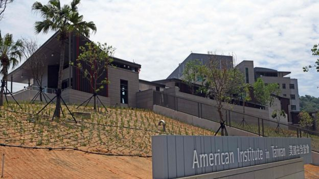 "A general view shows the American Institute in Taiwan (AIT) new office complex in Taipei on June 12, 2018. Washington on June 12 unveiled a multi-million-dollar new complex for its de facto embassy in Taiwan in what is hailed as a ""milestone"" in relations, a declaration likely to rile China. / AFP PHOTO / SAM YEHSAM YEH/AFP/Getty Images"