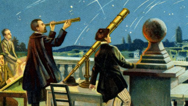 A painting that shows Giovanni Schiaparelli with his telescope.