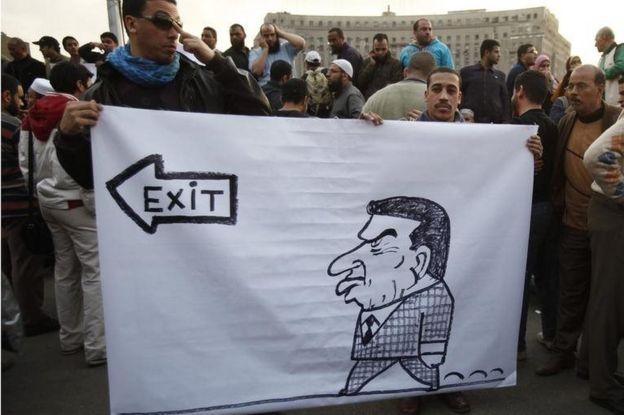 Les manifestants caricaturent le président égyptien Hosni Moubarak au Caire en 2011