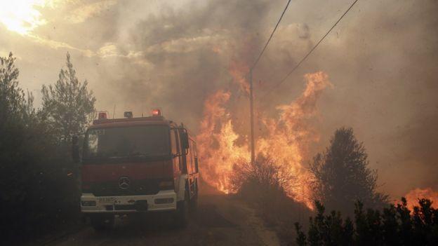 Yangına müdahale etmeye çalışan itfaiye araçları