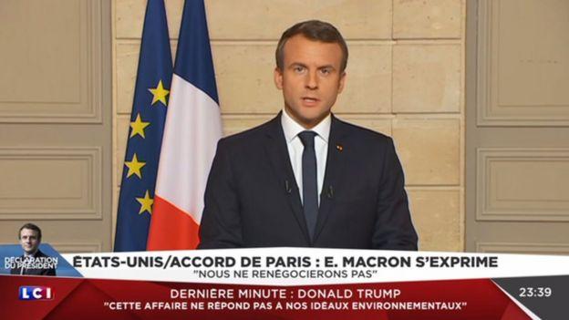 Emmanuel Macron hablando por TV