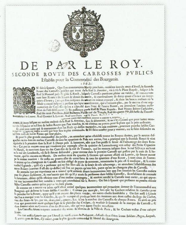 Decreto Luis XIV autorizando transporte coletivo em Paris