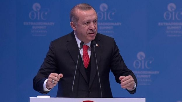 Turkish President Recep Tayyip Erdogan address the meeting of the Organisation for Islamic Cooperation in Istanbul on Wednesday