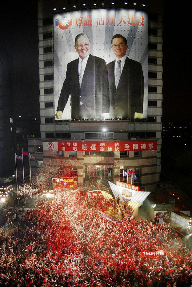 李登輝和連戰在1996年勝出台灣的總統大選