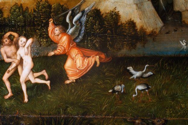 Expulsión de Adán y Eva por Lucas Cranach el Viejo