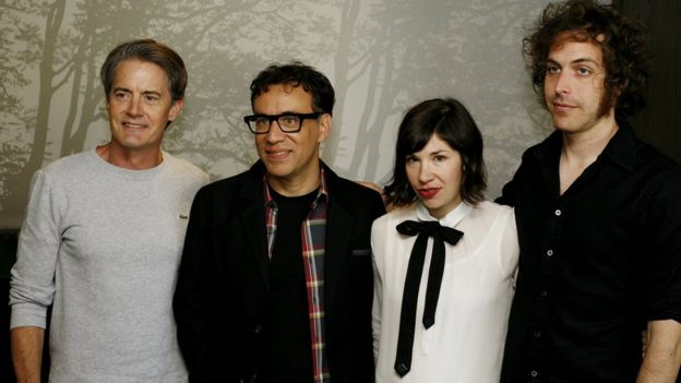 The cast of Portlandia, Kyle MacLachlan, Fred Armisen, Carrie Brownstein and Jonathan Krisel in 2013