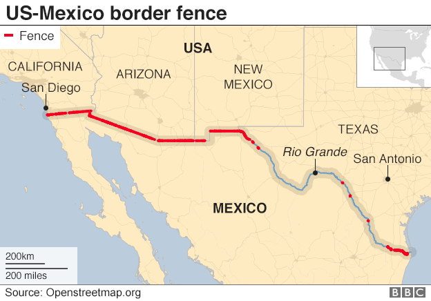 Map showing US-Mexico fence