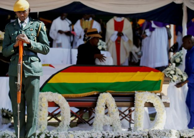 Soldier by Robert Mugabe's coffin
