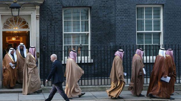 "Members of Saudi Arabia""s Crown Prince Mohammed bin Salman""s delegation leave 10 Downing Street"