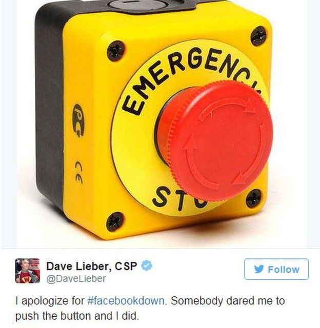 Dave Lieber tweets that he pushed an emergency stop button to stop Facebook