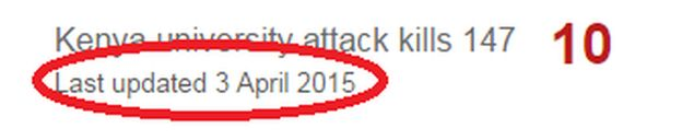 The date stamp on an older BBC News story - red circle added for emphasis