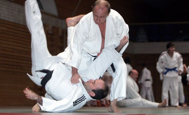 Vladimir Putin in a judo bout in 2009