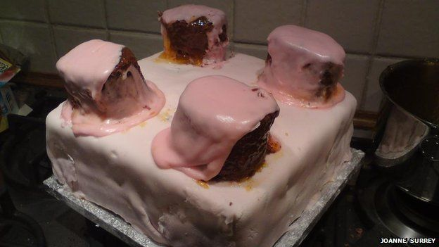 Soggy pink cake
