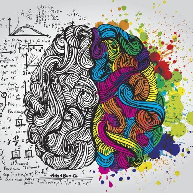 Ilustración de los dos hemisferios cerebrales