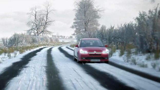 Clip showing car on snowy road in DVSA theory test