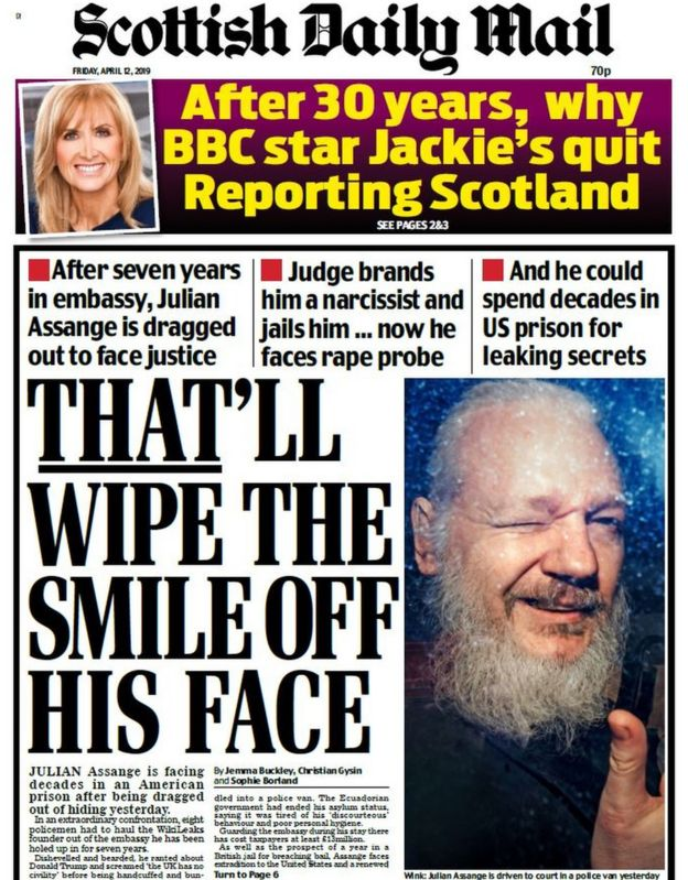 Scotland's papers: Indyref update and Assange facing jail