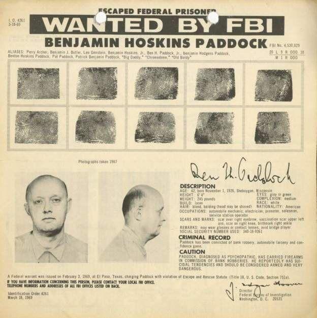 Cartel del FBI sobre Patrick Benjamin Paddock