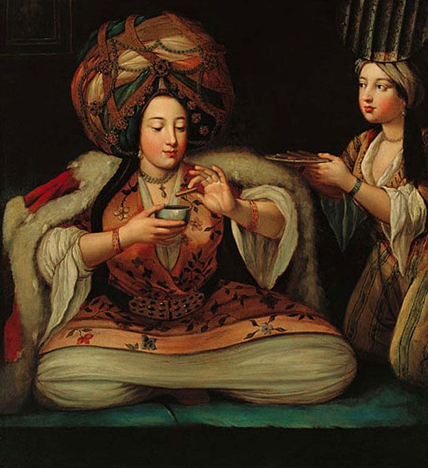 """Enjoying coffee"", painting by unknown author that is in the Pera Museum in Turkey."