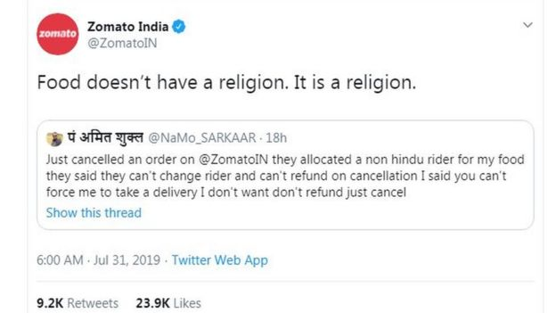 Hindu man refuses Zomato takeaway over 'Muslim driver' - BBC