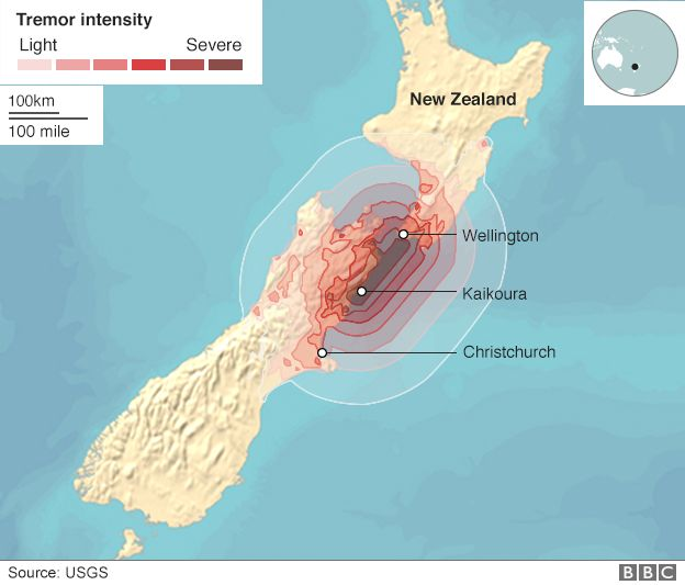 Map showing where tremors were most intense