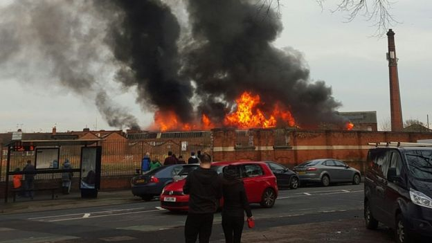 Fire at factory in Belgrave Road area of Leicester