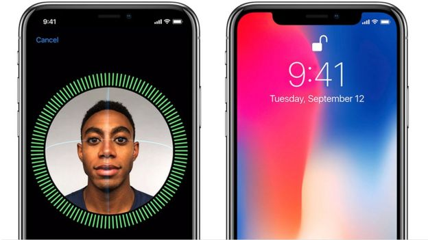 The iPhone X can be unlocked using facial recognition