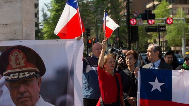 Manifestante con imagem de Pinochet