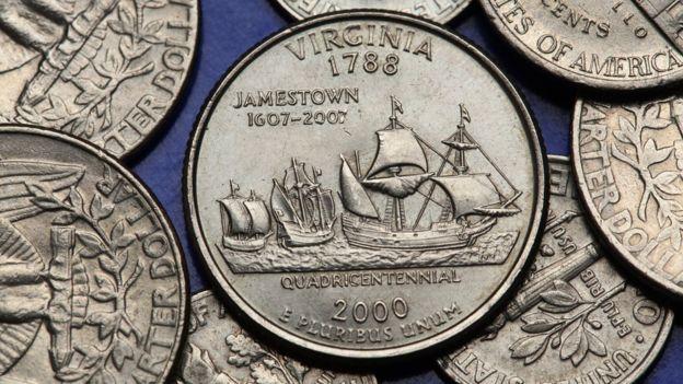 Monedas conmemorativas de la llegada de los colonos ingleses a Estados Unidos.