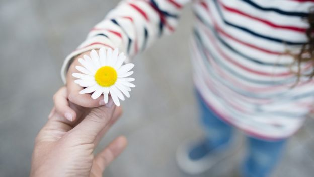 Niña sosteniendo una flor.