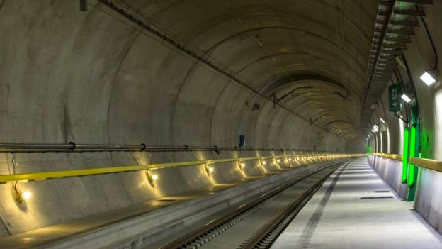 Interior of the Gotthard Base Tunnel