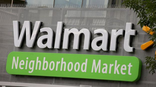 The Walmart logo is displayed at a Walmart in Chicago, Illinois.