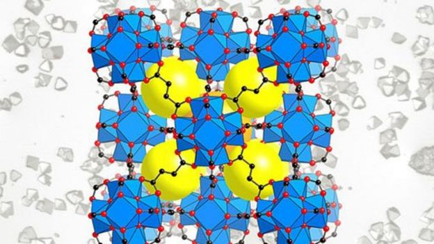 Ilustración de andamios de moléculas llamados MOF por sus siglas en inglés