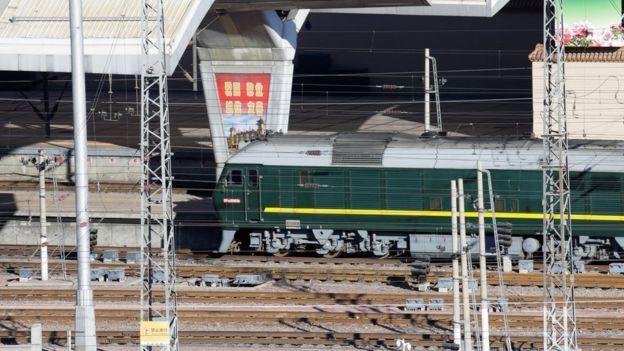 گفته شده که آقای کیم در این قطار به سمت چین رفته است