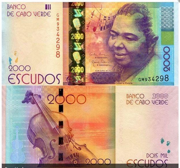 عملة الجزيرة من فئة الـ 2000 إسكودو تكريماً للمطربة الراحلة سيزاريا إيفورا