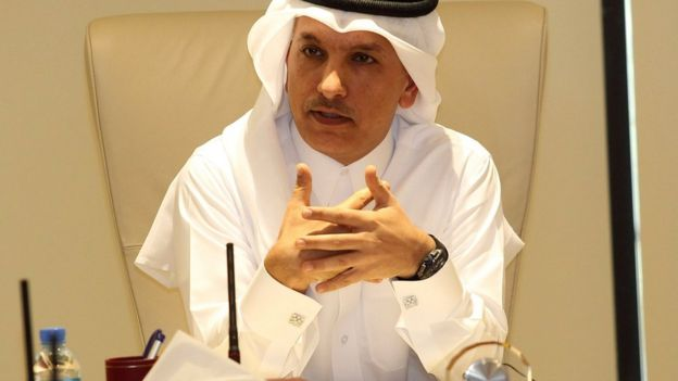 Qatari Finance minister Ali al-Emadi speaks to journalists in Doha (7 February 2017)