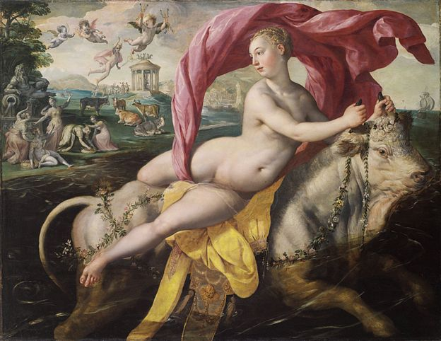 """(""""La violación de Europa, ca. 1590. Artista: Vos, Maerten)"""