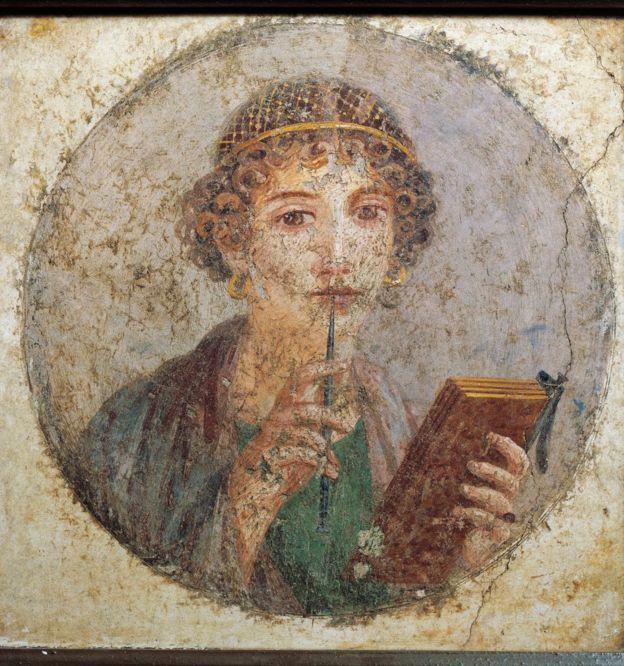Representación de Safo en un fresco en Pompeya, Italia.