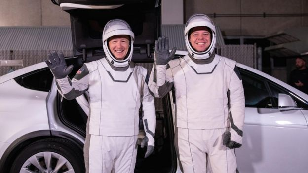 Hurley (L) and Behnken in their flight suits