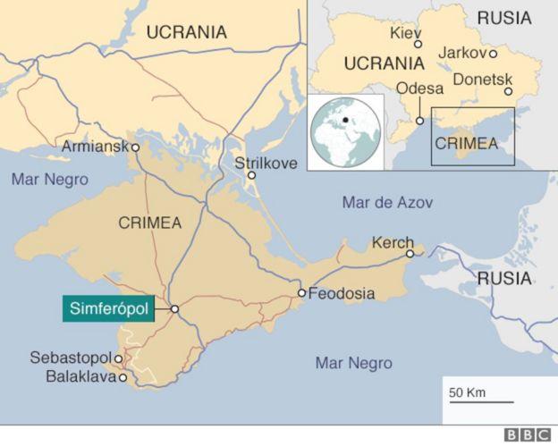 Mapa de Ucrania que resalta la ocupación rusa.