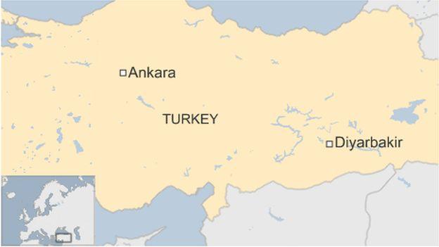 A map showing Diyarbakir in Turkey