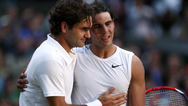 Roger Federer y Rafael Nadal en Wimbledon 2008