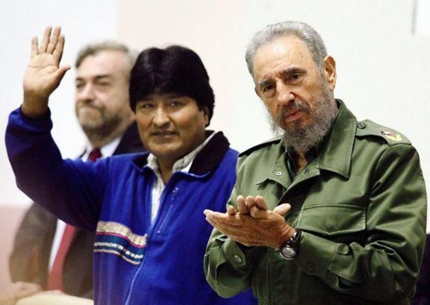 Evo Morales con Fidel Castro