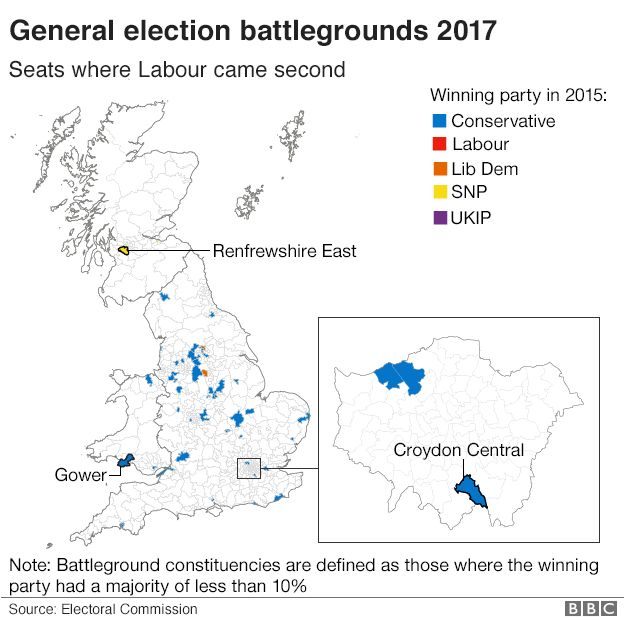 Map showing the 48 seats where Labour came second in the 2015 general election