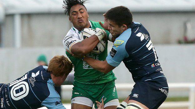 Blues pair Ellis Jenkins and Rhys Patchell tackle Connacht's Bundee Aki