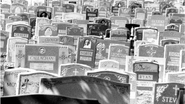 1987 image of cemetery near Boston