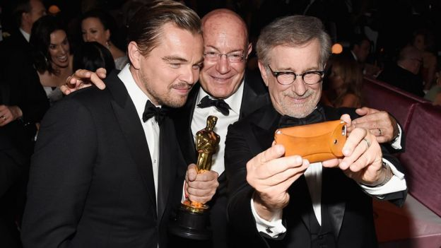 Actor Leonardo DiCaprio, winner of Best Actor for 'The Revenant', Producer Arnon Milchan and Director Steven Spielberg