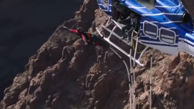 Will Smith jumps out of a helicopter on his 50th birthday
