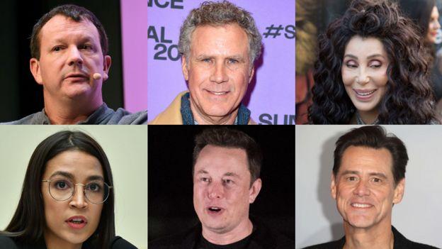 De arriba a la izquierda en dirección de las manecillas del reloj: Brian Acton, Will Ferrell, Cher, Jim Carey, Elon Musk, Alexandria Ocasio-Cortez